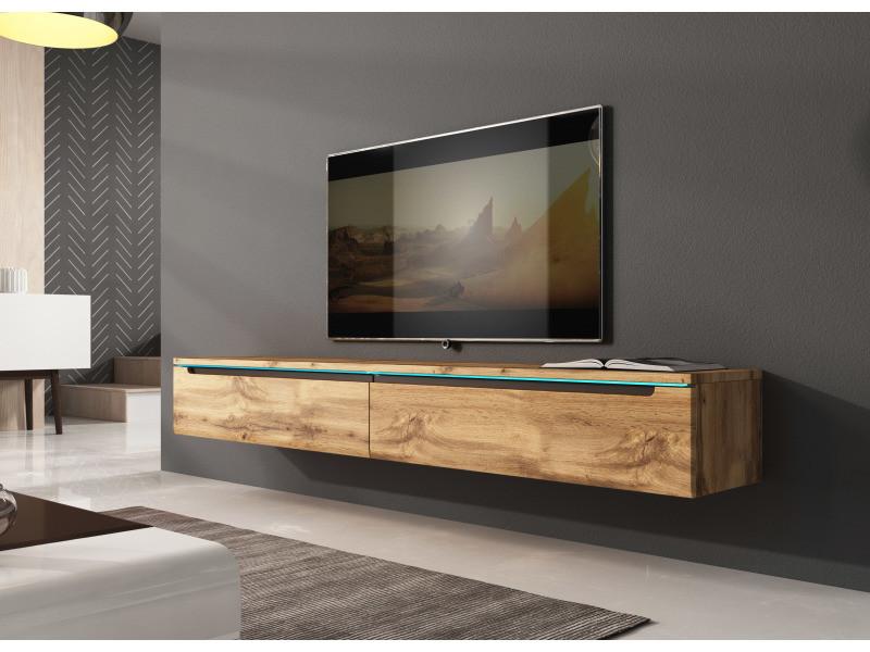 furnix meuble tv flottant banc tv kano180 cm chene wotan avec led