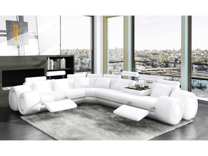 Canapé d'angle cuir design blanc + positions relax oslo (angle gauche)-
