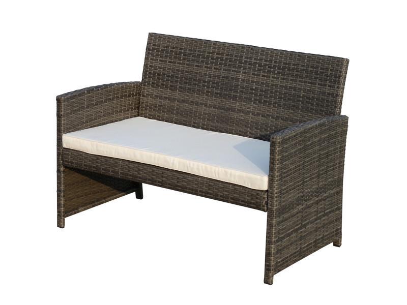 Ensemble Salon de Jardin 4 Places canapé 2 fauteuils et ...