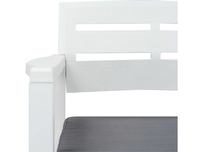 Vidaxl Banc De Jardin à 2 Places Et Coussins 133 Cm Plastique Blanc