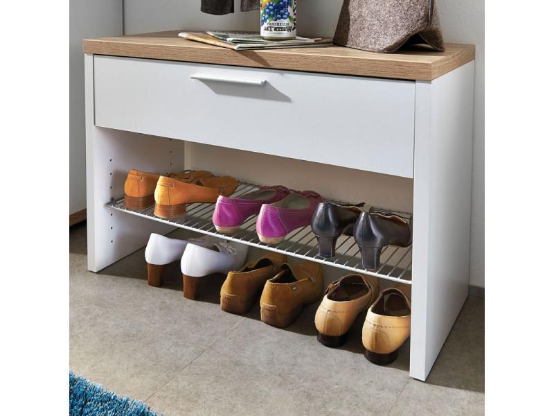 Meuble à Chaussures Banc à Chaussures Blancchêne Avec 1 Tiroir Et 1