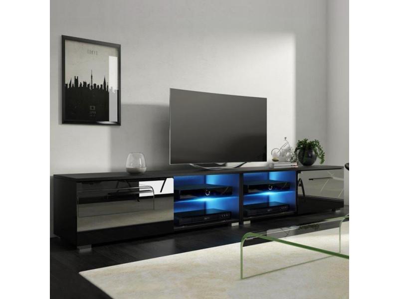 Meuble tv / banc tv - tenus double - 200 cm - noir mat / noir brillant - avec led