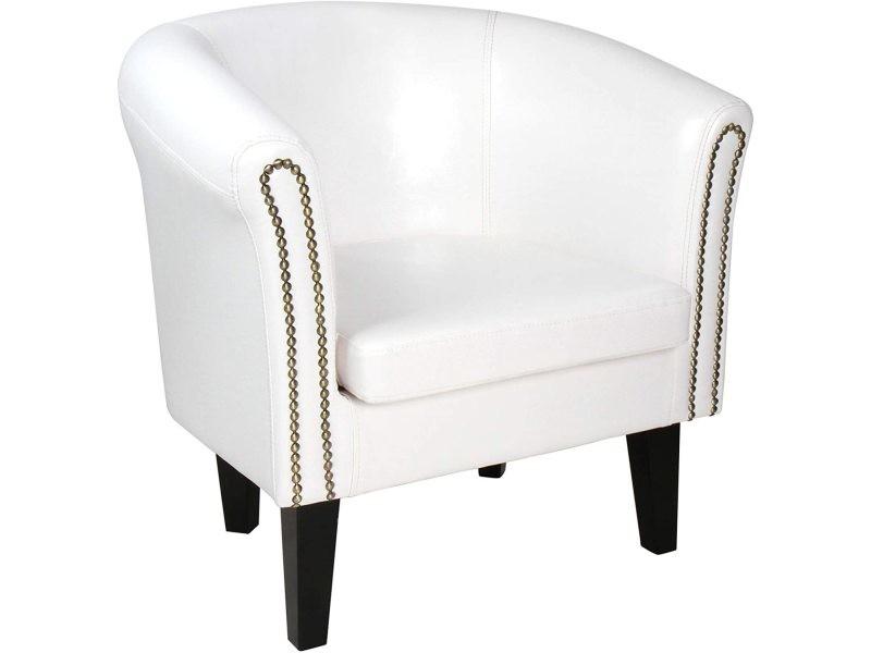 Fauteuil chesterfield avec repose pied en simili cuir avec éléments décoratifs en cuivre chaise cabriolet tabouret pouf meuble de salon blanc helloshop26 01_00000101