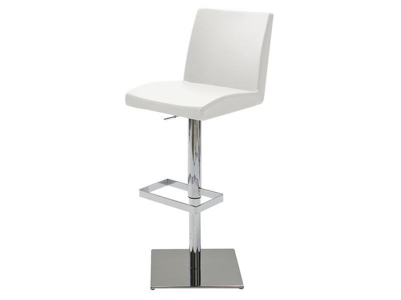 Tabouret de bar socle avec pieds en métal chromé socle acier poli rotation 360 °en pu coloris blanc - dim : h 92-113 x 42 x 53 cm -pegane-