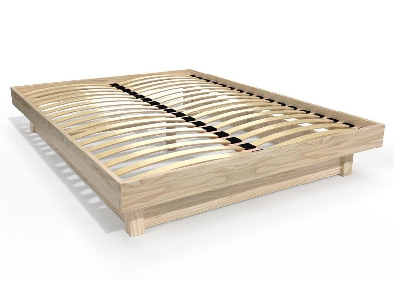 Lit plateforme bois massif pas cher 160x200 vernis naturel PLAT160-V ...