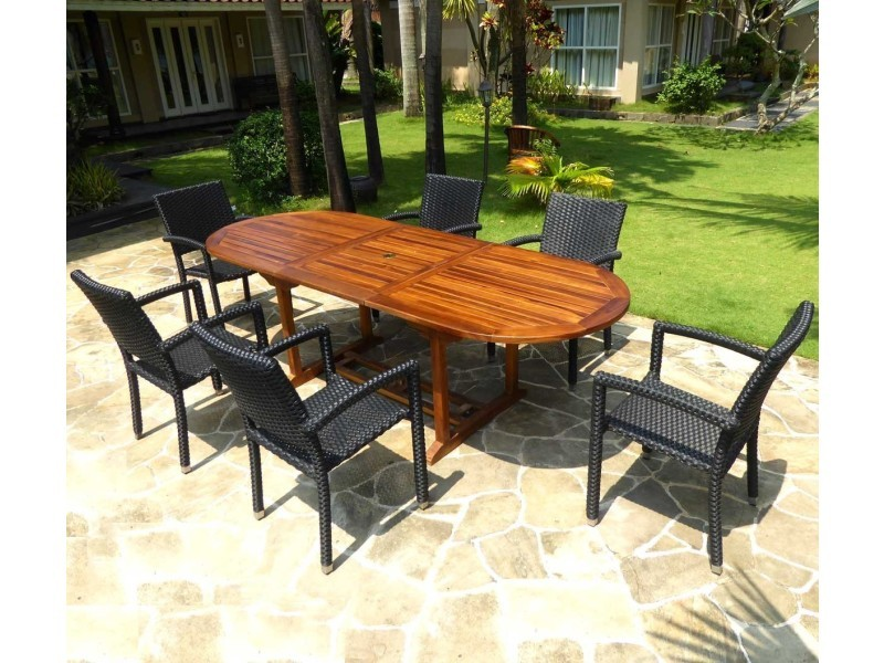 Salon de jardin en teck huilé table 240 cm 6 fauteuils ...