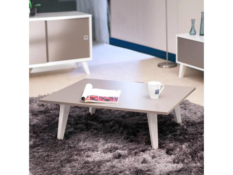 Table basse sur pieds inclinés plateau taupe - sweden