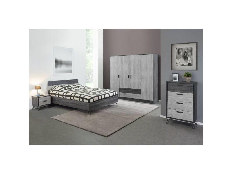 Chambre adulte moderne chêne gris/gris cendré koaline ...