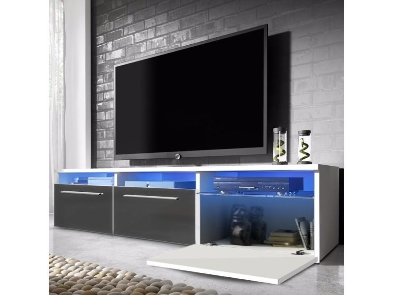 Meuble Tv Lavello 140 Cm Blanc Mat Gris Brillant