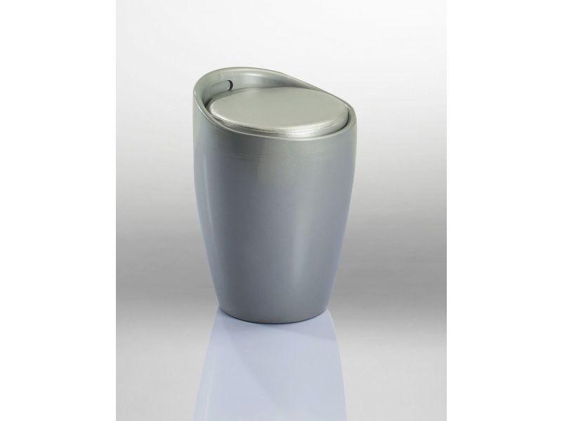 Duhome tabouret rond en plastique de couleur argenté 6220