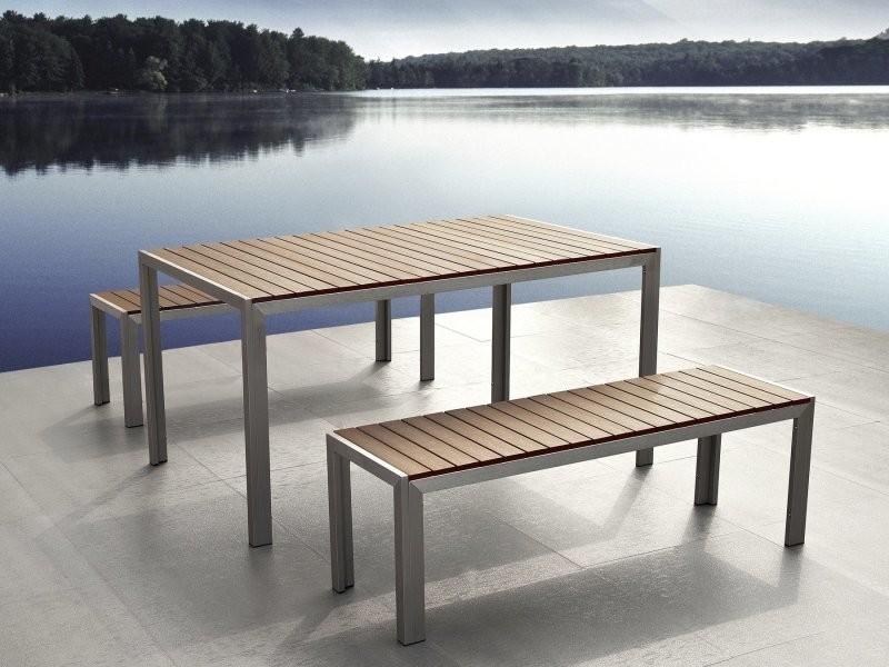 Table de jardin et deux bancs avec plateau en plastique marron 180 ...