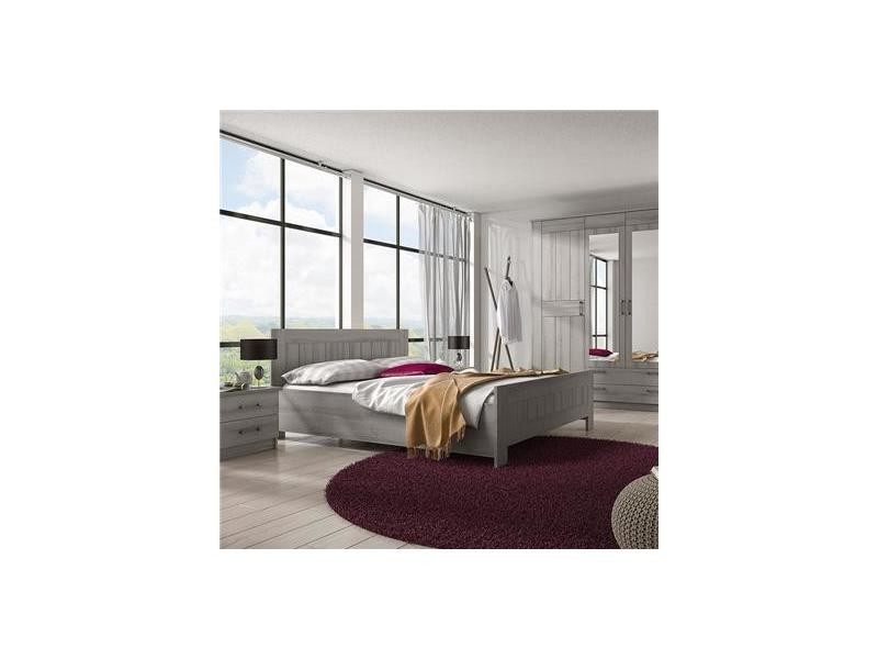 Chambre adulte contemporaine couleur chêne gris luana - Vente de ...