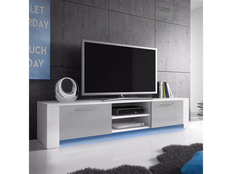 Meuble tv - GOAL - 166 cm - blanc mat / gris brillant
