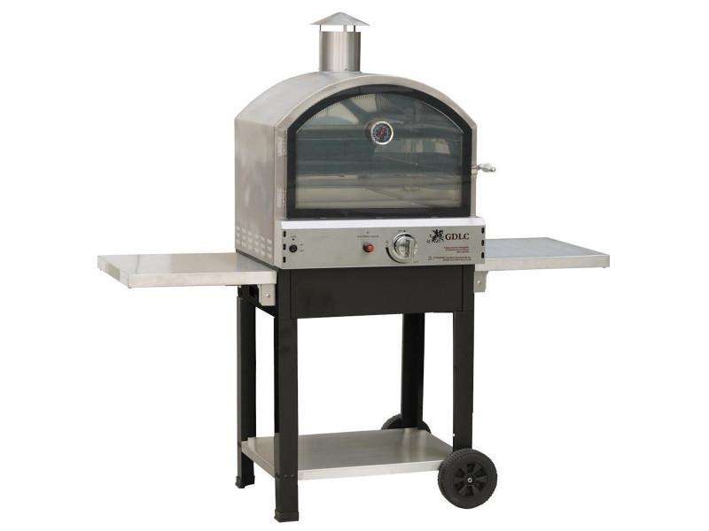 four a gaz barbecue extérieur 4700w mobile 2 étages de cuisson pizza