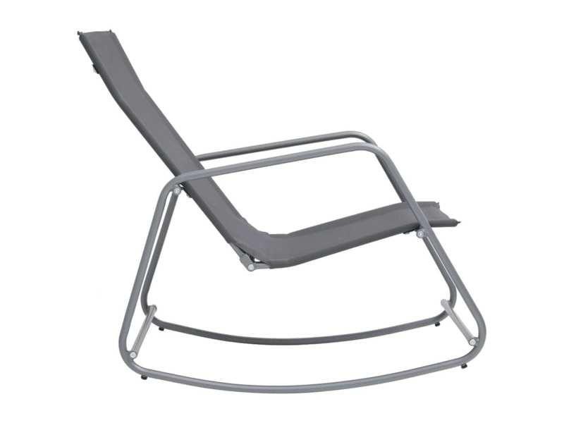 Vidaxl chaise à bascule de jardin gris 95x54x85 cm textilène