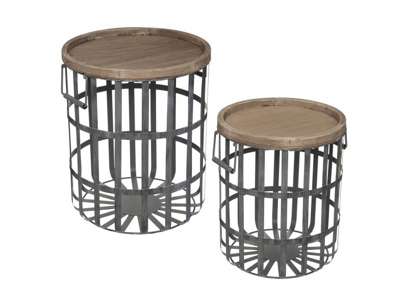 Atmosphera - set de 2 tables à café en bois et métal gris industriel