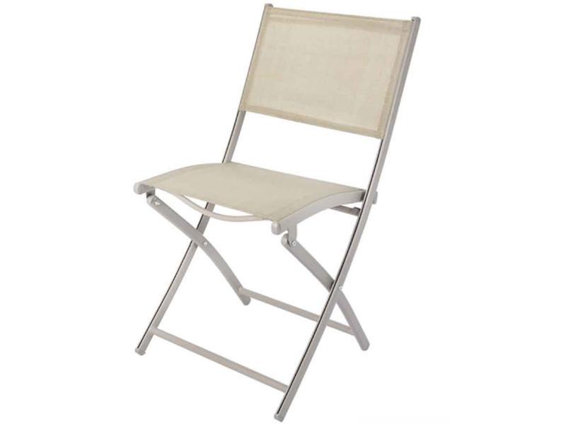Chaise pliante de jardin en aluminium et textilène coloris taupe mat - dim : 45.5 x 57 x h85 cm -pegane-