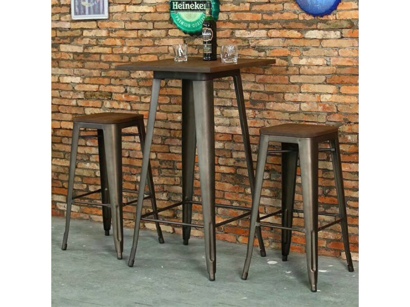 Hombuy® ensemble de table de bar marron et noir et 2 tabourets avec siège en bois style industriel pour bistrot, cuisine, jardin, restaurant
