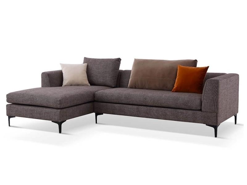 Canapé d'angle gauche en tissu july - marron - gauche - marron