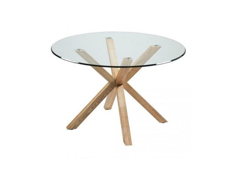 Table ronde verre et bois idol 120 cm