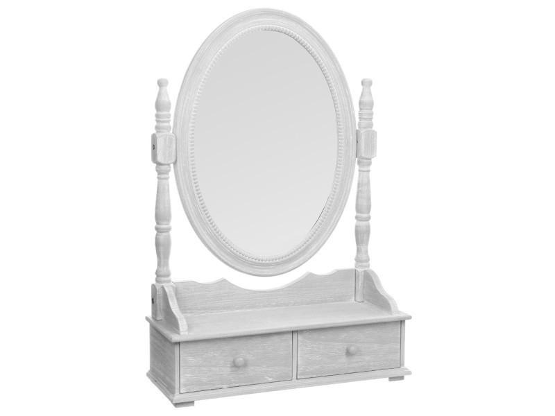 Miroir / range-bijoux en mdf de 2 tiroirs, gris - dim : l.50 x l.18 ...