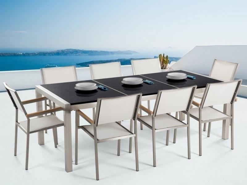 Table de jardin en plateau granit noir 220 cm avec 8 chaises ...