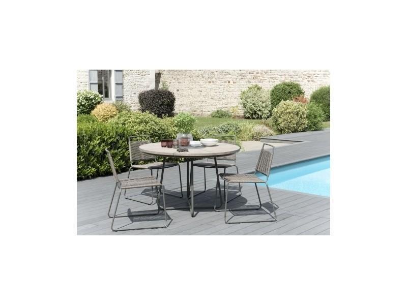 Salon de jardin en teck avec 1 table ronde et 4 chaises pliantes ...