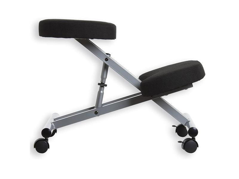 Tabouret ergonomique chaise à genoux hombuy en fer noir et argent