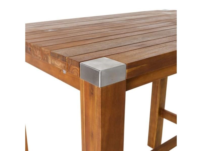 Table haute de jardin en bois et acier inoxydable navarra ...