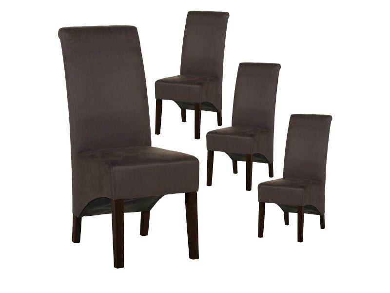 Mirina - lot de 4 chaises tissu gris anthracite