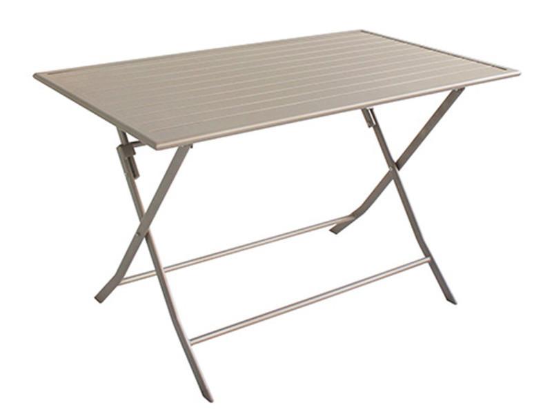 Table de jardin pliante en aluminium coloris taupe mat - dim ...