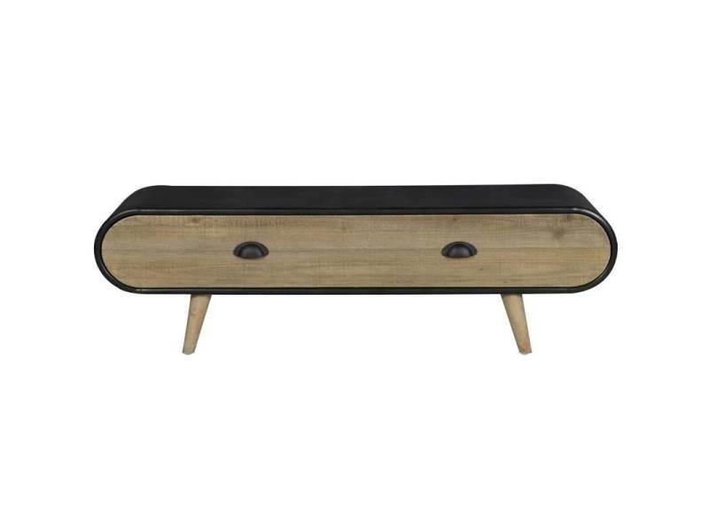 Meuble tv trunk hinsk console d'appoint 1 tiroir industrielle sellette salon en bois et acier 35x36x120cm
