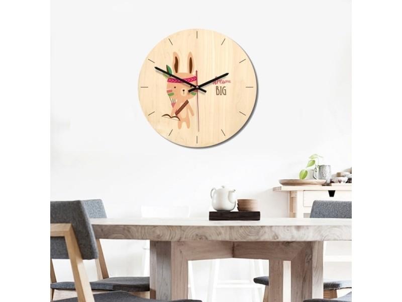 Horloge murale muette en bois de décoration chambre à ...