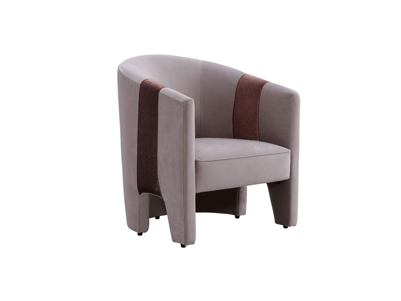 Fauteuil en velours tara - taupe - taupe