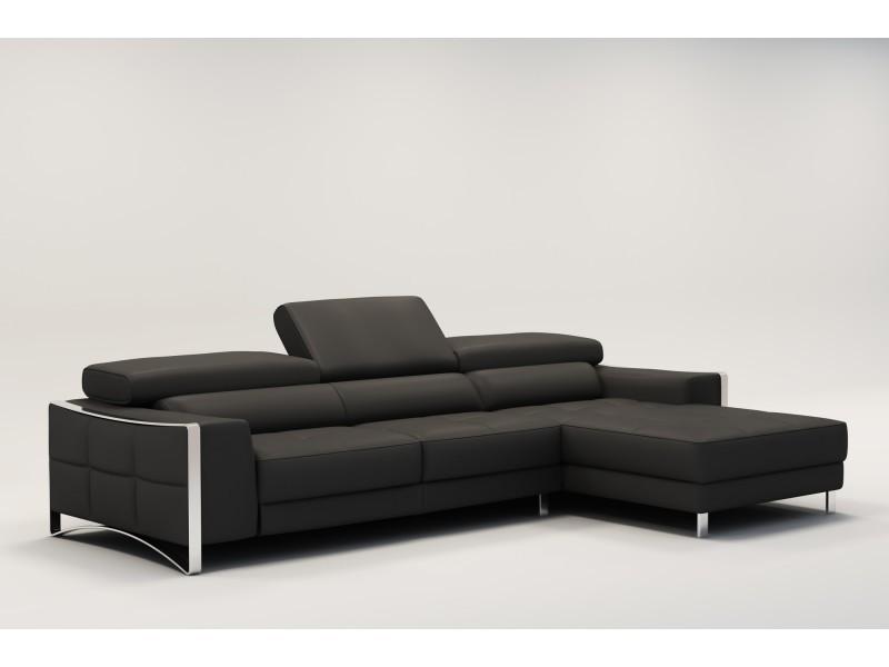 Canapé d'angle design en cuir gris sheyla-
