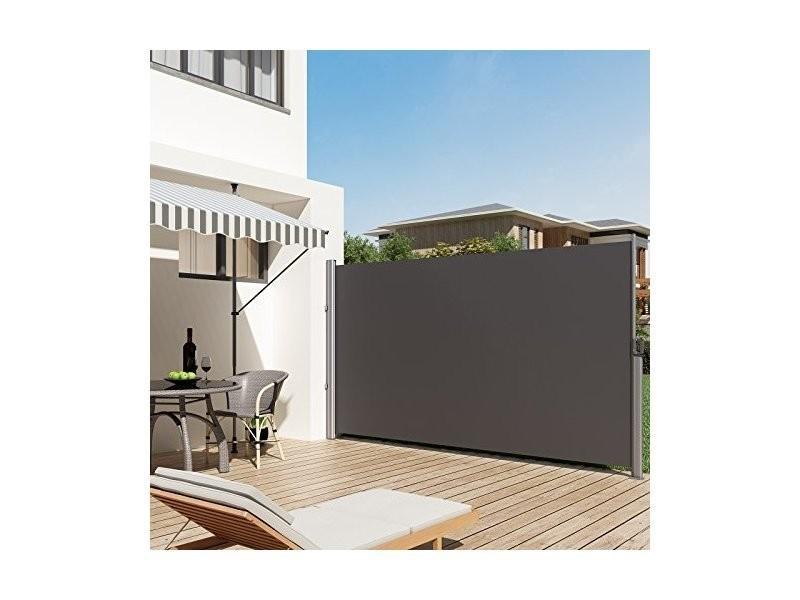 Store Latéral Pour Balcon 200 X 350 Cm, Terrasse, Brise Vue Pare Soleil  Gris Foncé Gsa205g Songmics