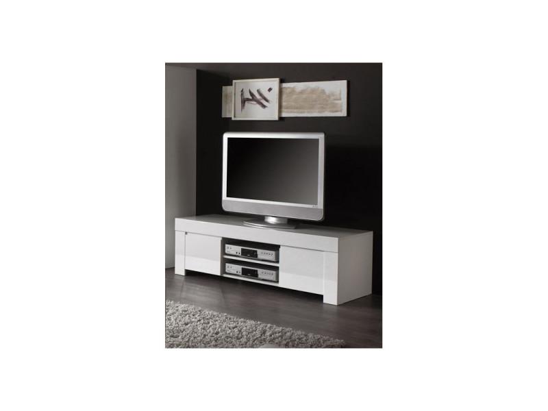 Meuble Tv Design Laque Blanc Twist Coloris Dimensions L 140 Cm Vente De Deladeco Conforama