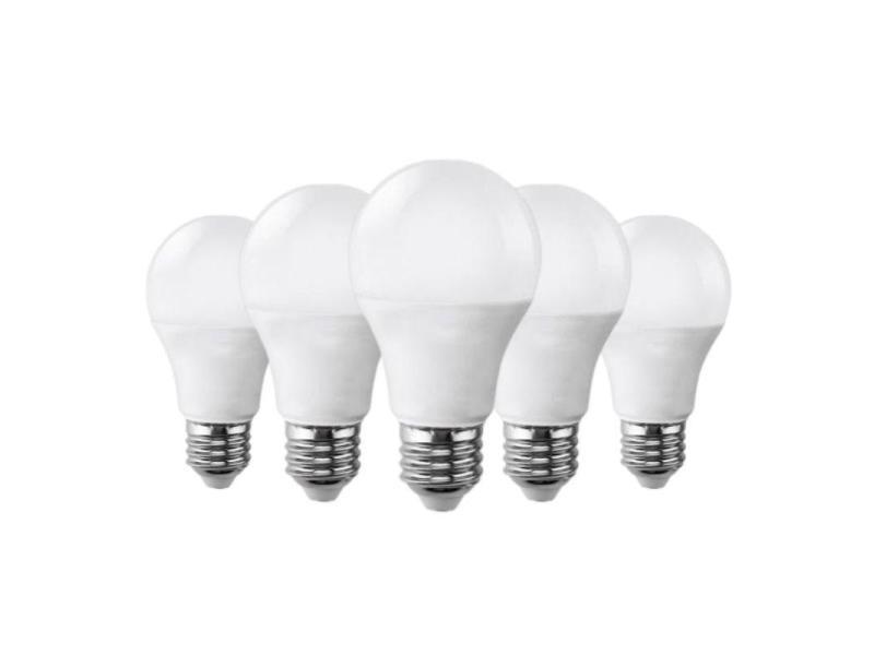 Ampoule e27 led 9w 220v a60 180° (pack de 5) - blanc chaud 2300k - 3500k
