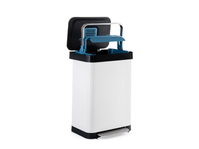 Klarstein trash inn - poubelle à pédale 50 litres, filtre anti-odeurs - inox blanc