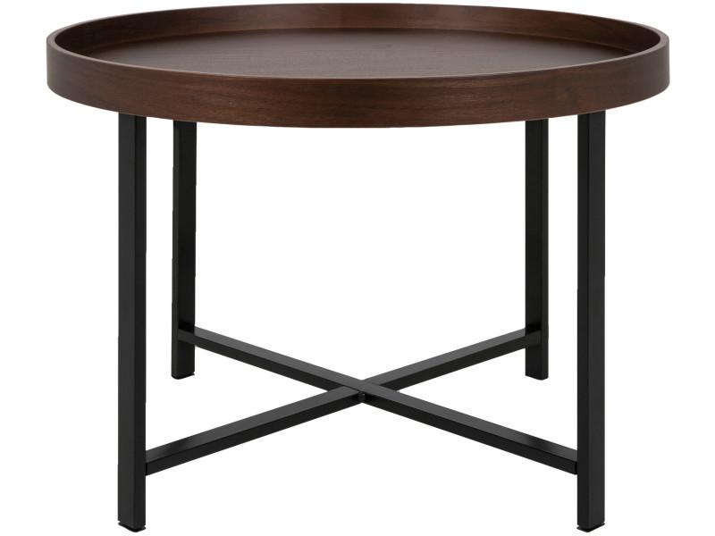 Table Basse Ronde Conforama.Table Basse Ronde 62 Cm En Contre Plaque Avec Pietement En