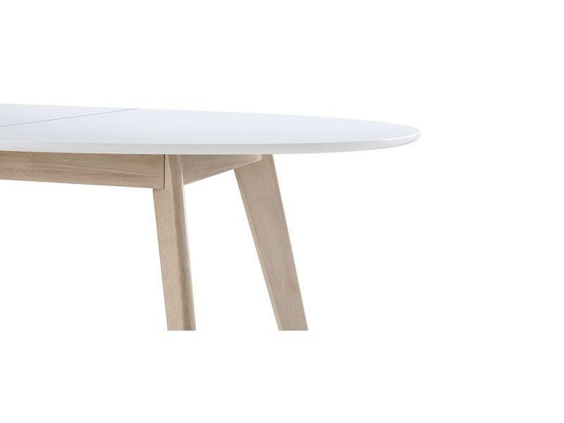 Table Extensible Ovale Blanche Et Bois Clair L150 200 Cm Leena