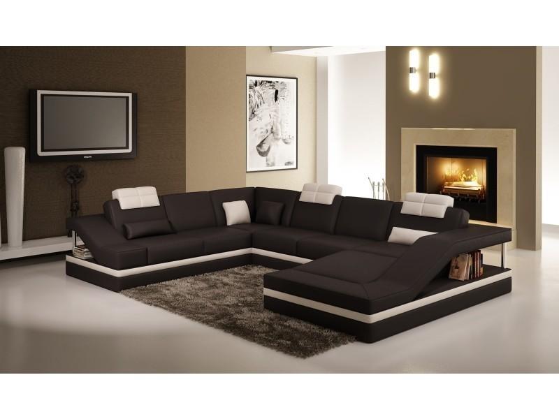 Canapé d'angle design noir et blanc atilde-