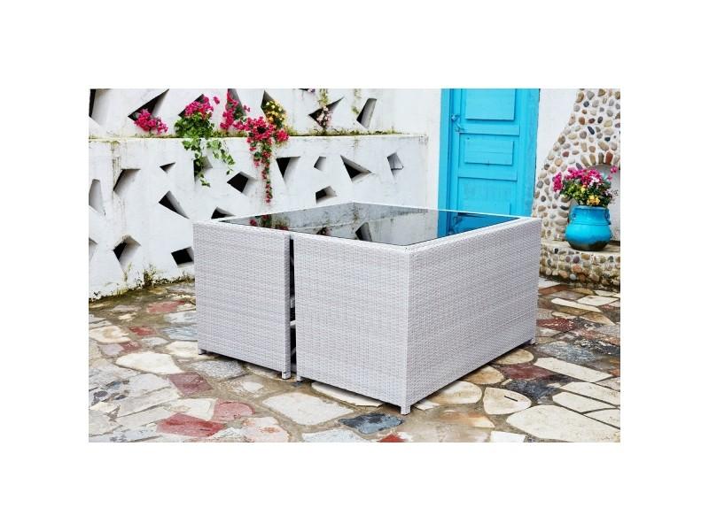 Nouméa gris/blanc : salon de jardin encastrable en résine tressée 8 ...