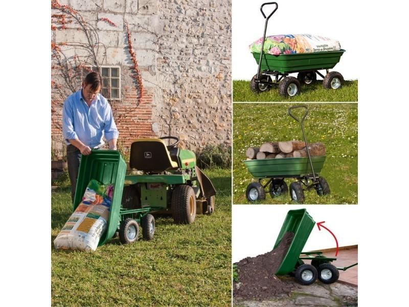 Chariot remorque de jardin vert basculant - Vente de ID ...