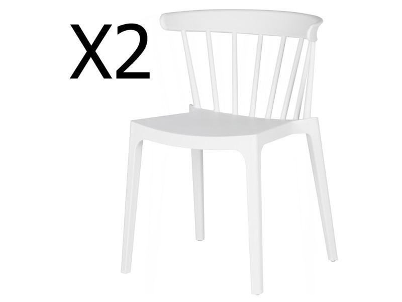 Lot de 2 chaises de jardin en plastique coloris blanc - dim : h 75 x l 52 x p 53 cm - pegane -