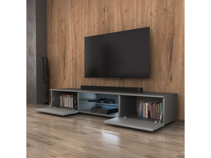 Meuble Tv Syvis 140 Cm Gris Mat Gris Brillant Led