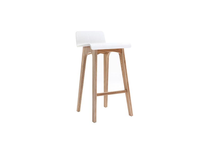 chaise de bar bois et blanc 65cm