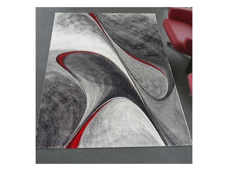 Tapis Graphique Et Modern Pour Le Salon Milar Noir Gris Rouge 200