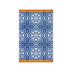 Tapis d'extérieur puebla bleu en fibre recyclée fabriqué main 180 cm x 120 cm