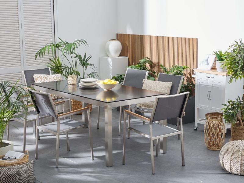 Table de jardin noir avec plateau en verre grosseto 53405 ...